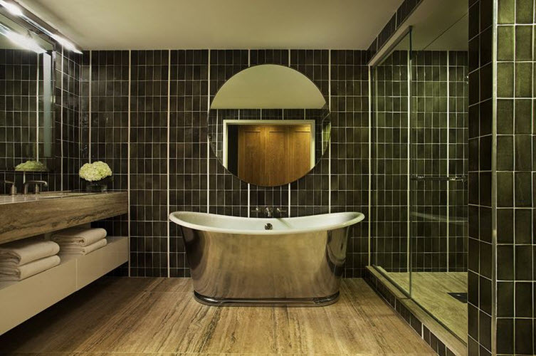 Brown Green Bathroom