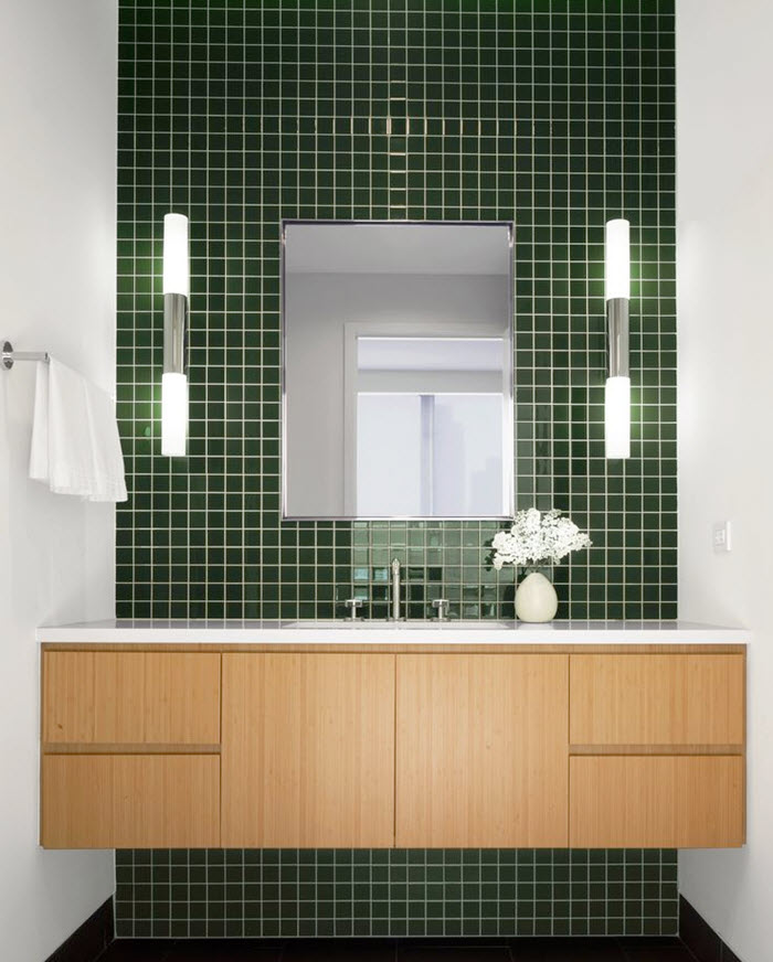 Grüne Badezimmer Fliesen: 40 Dark Green Bathroom Tile Ideas And Pictures