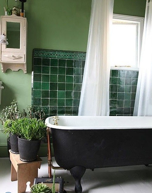 Dark Green Bathroom Tiles