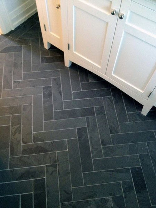 Innovative Pretty Bathroom Floor Tile Ideas In Black Color Combine With White