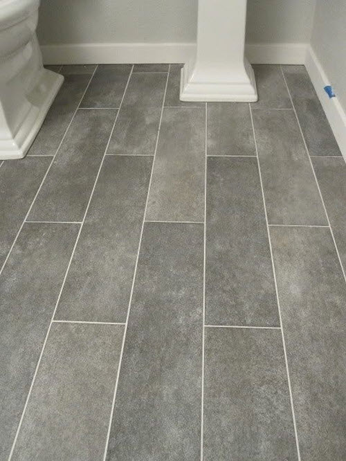 Gray Floor Tile Bathroom