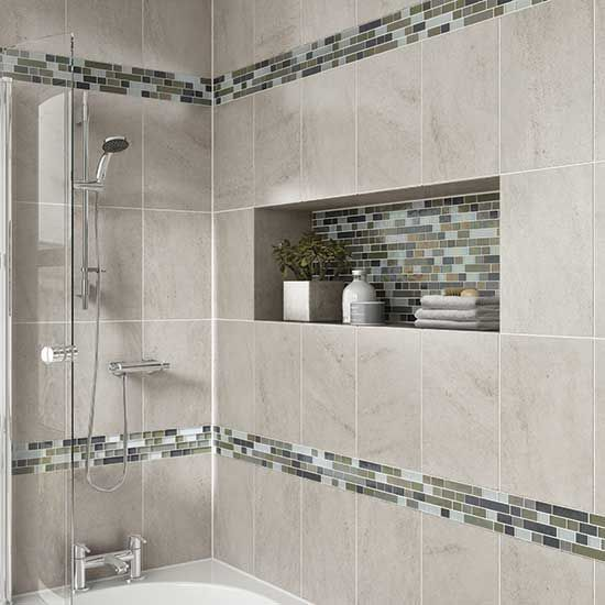 40 gray bathroom wall tile ideas and pictures for Decorative bathroom wall tile designs