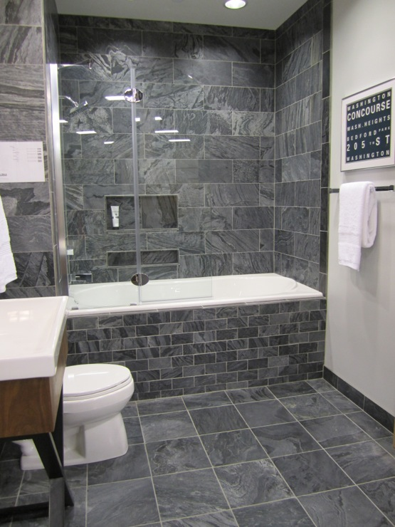 40 gray bathroom wall tile ideas and pictures for Bathroom grey tiles ideas