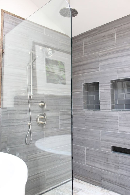 40 gray bathroom wall tile ideas and pictures for Bathroom tiles design