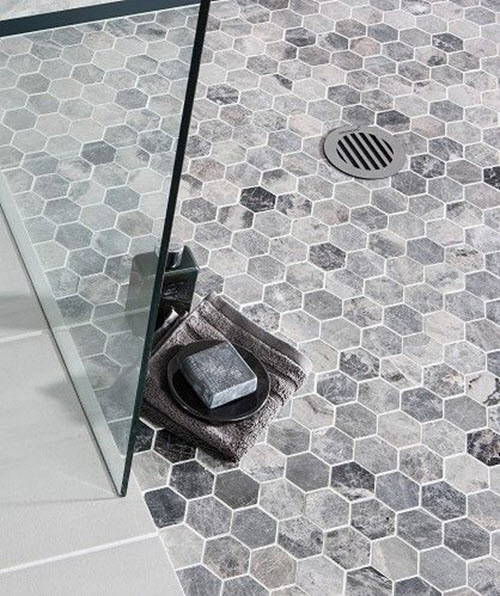 40 gray hexagon bathroom tile ideas and pictures Marble hex tile bathroom floor