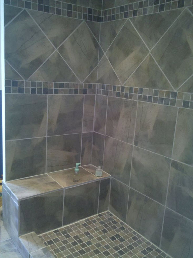 Grey Mosaic Bathroom Floor Tiles : Gray shower tile ideas and pictures