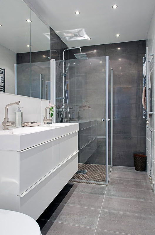 40 gray shower tile ideas and pictures - Salle de bain gris et blanc ...