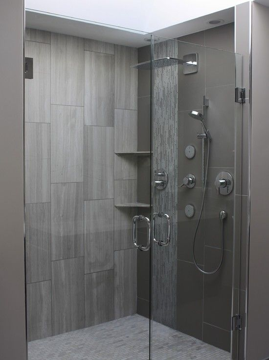 Large subway tile in shower