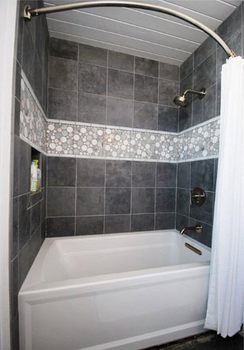 The gallery for grey slate tile bathroom for Slate tile bathroom ideas