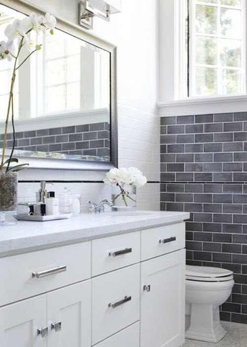 Wonderful White And Gray Bathroom With With 3x6 Daltile Desert Gray Subway Tile