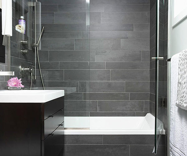 Gray slate tile bathroom house decor ideas for Bathroom ideas grey tiles