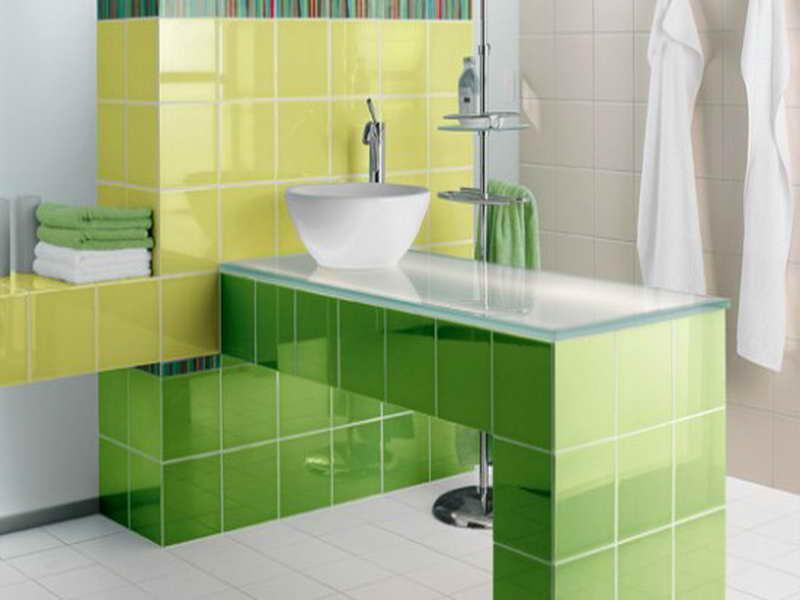 Green bathroom floor tiles the image for Green bathroom ideas