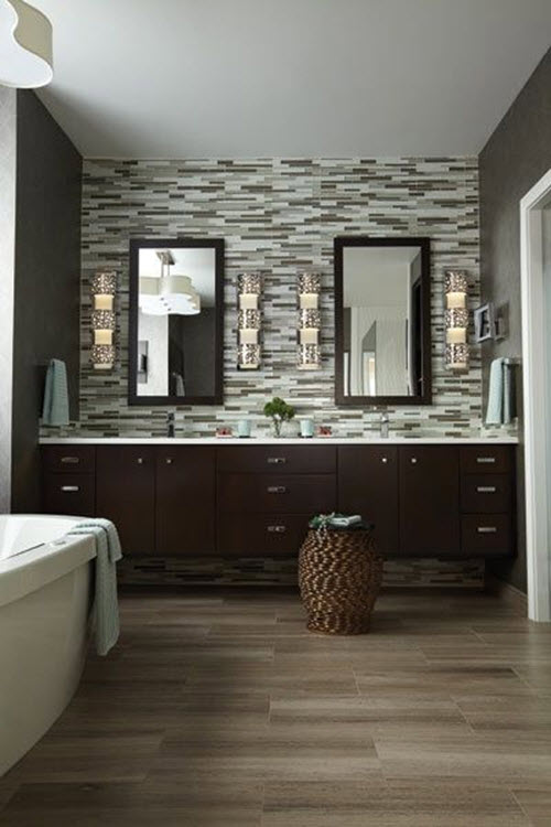 35 grey brown bathroom tiles ideas and pictures for Grey floor black cabinets