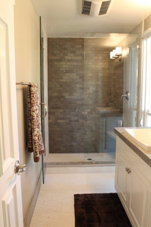 35 grey brown bathroom tiles ideas and pictures for Feature wall tile ideas