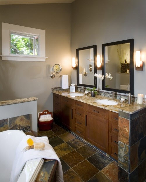 Brown Tile Color Ideas For Decorating: 35 Grey Brown Bathroom Tiles Ideas And Pictures