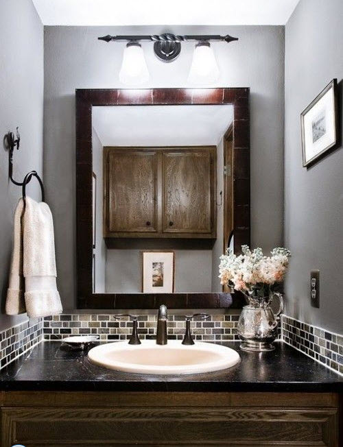 35 grey brown bathroom tiles ideas and pictures for Grey silver bathroom accessories