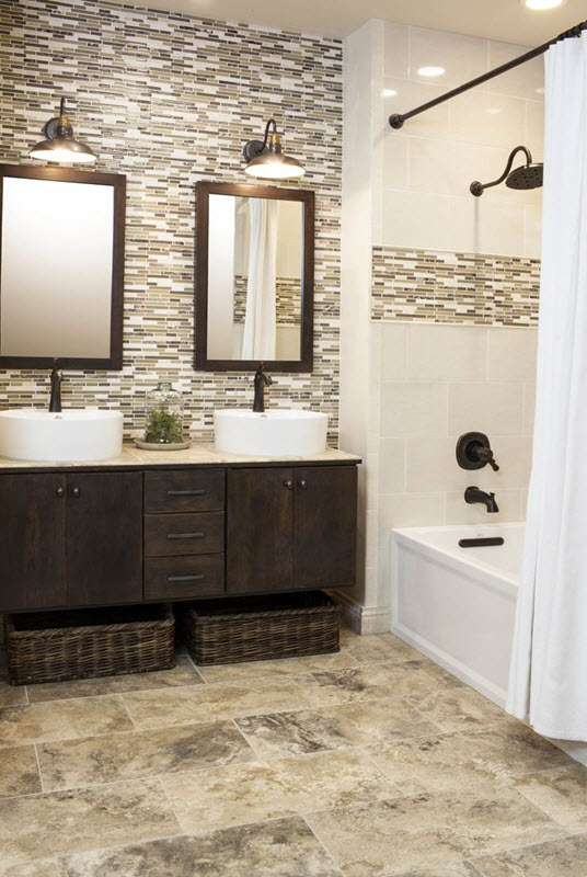 35 grey brown bathroom tiles ideas and pictures for Brown tile bathroom ideas
