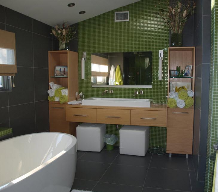 24 Grey Green Bathroom Tiles Ideas And Pictures - Art-deco-green-bathroom-tiles