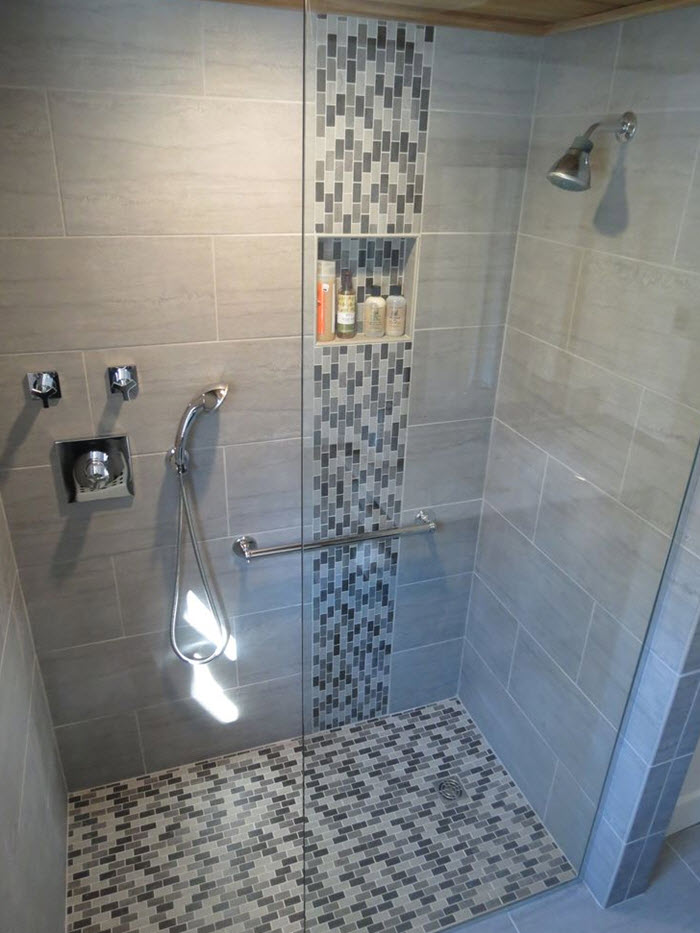 40 grey mosaic bathroom wall tiles ideas and pictures for Bathroom tiles design