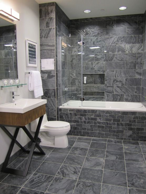 Grey Slate Bathroom Floor Tiles Ideas And Pictures - 4 inch slate tile