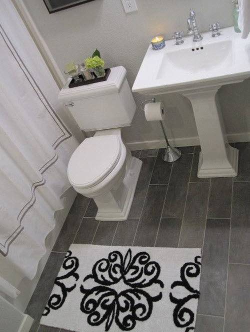 use grey slate tiles on the floor and get the bathroom of your dream