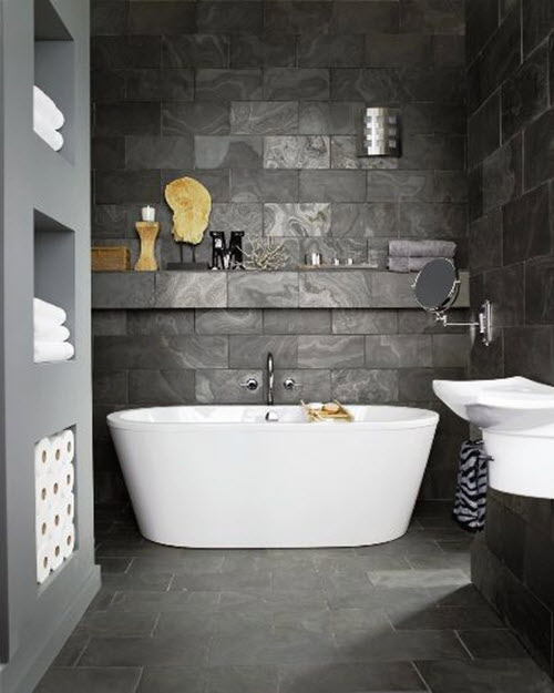 ideas how to use grey slate tiles on the floor and get the bathroom of