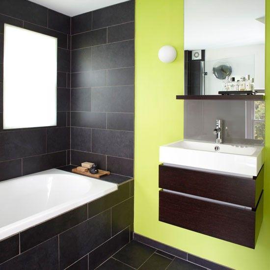 37 grey slate bathroom wall tiles ideas and pictures - Couleur salle de bain moderne ...