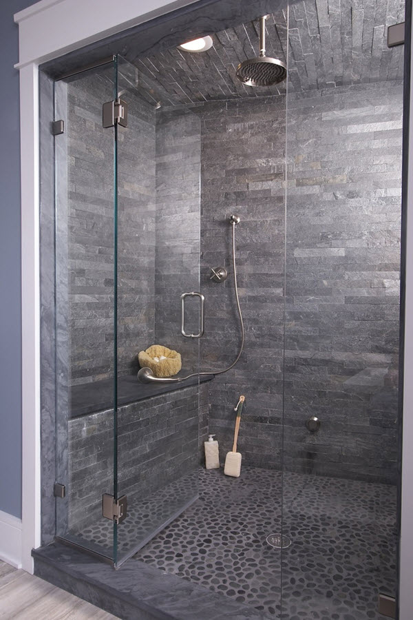 37 grey slate bathroom wall tiles ideas and pictures for Bathroom grey tiles ideas