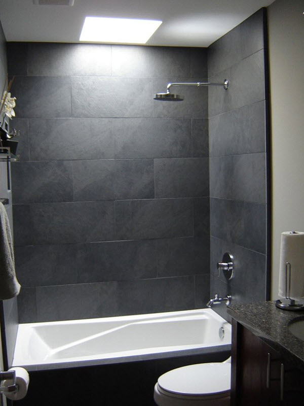 37 grey slate bathroom wall tiles ideas and pictures for Grey bathroom tile ideas