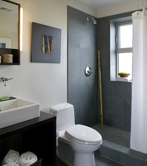 37 grey slate bathroom wall tiles ideas and pictures for Slate tile bathroom ideas