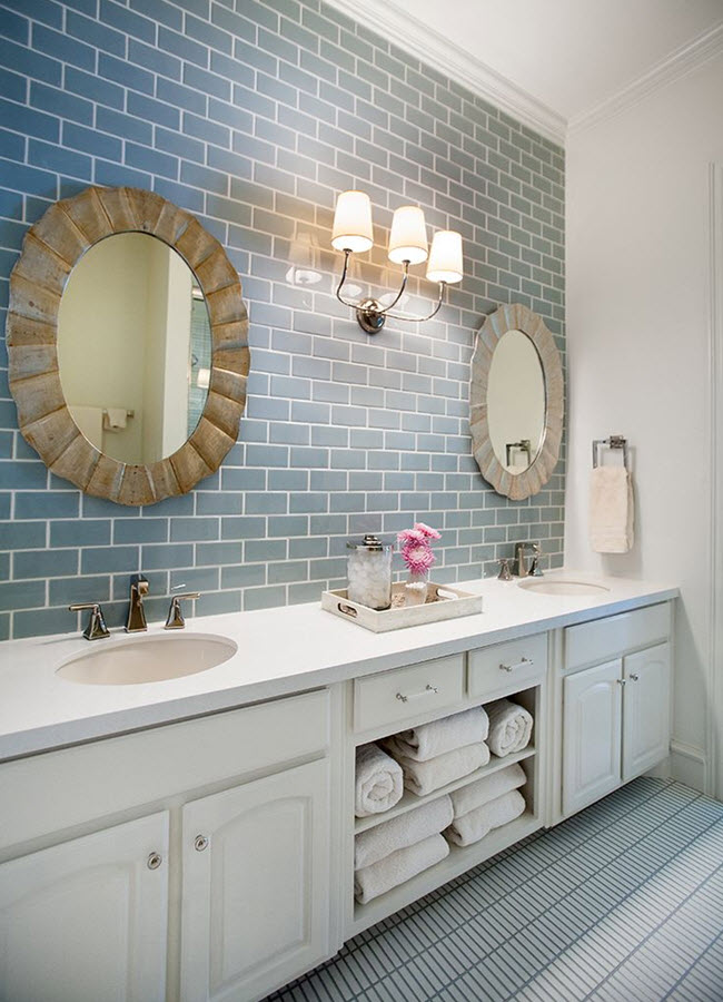 37 light blue bathroom floor tiles ideas and pictures - Blue tiled bathroom pictures ...