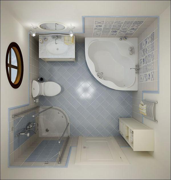 Tiny Bathroom Ideas White Corner Bath Up Light Blue Bathroom Floor