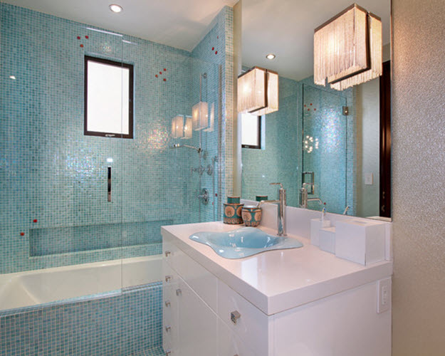 40 light blue bathroom tile ideas and pictures for Bathroom ideas light blue