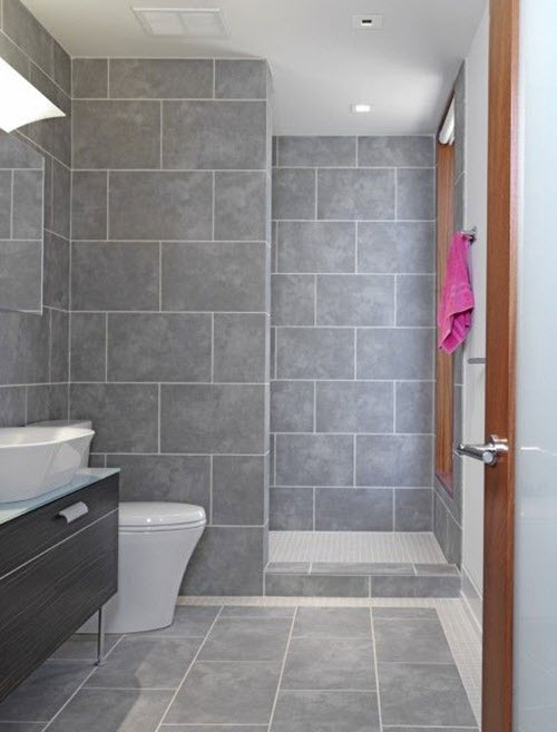 Grey Floor Tile Bathroom