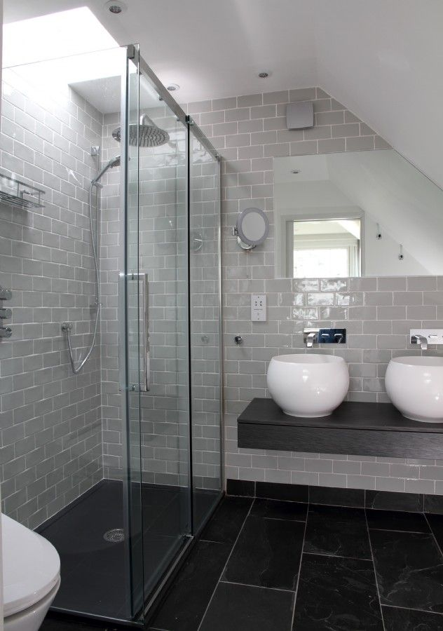 Model Bathroom With Glass Walk In Shower Large Gray Tiles On Floor Gray