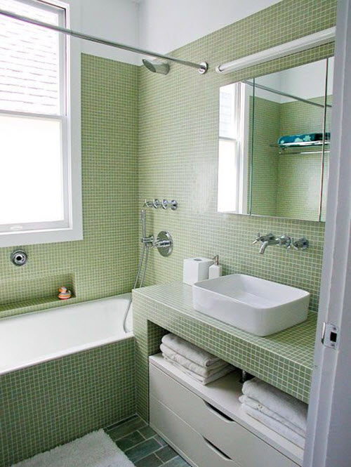 Luxury White And Green Bathroom With Green Wavy Tiles  Transitional
