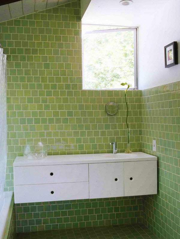 Amazing Subway Tile Is An Excellent Choice For The Bathroom Especially In A Vibrant Light Green As We See In The Featured Pictures These Trendy Yet Classic Tiles Make A Fresh Statement In This Space Green Is A Color Associated With Nature And