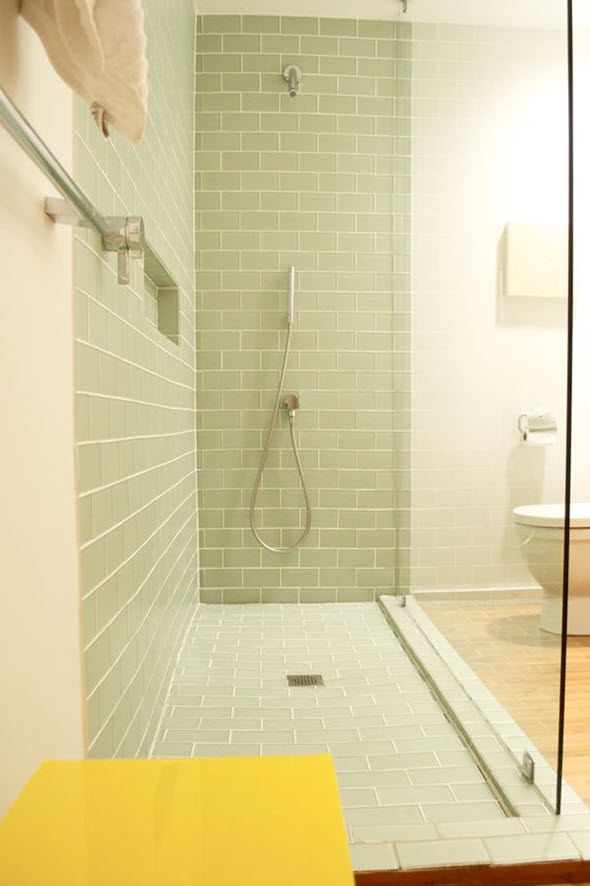 Model  Tiles Gray Shower Tile Gray Hexagon Bathroom Tile Retro Green Bathroom