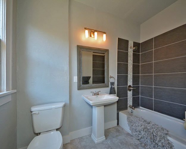 Brilliant  Beautiful Bathroom Design With Light Grey Tile Wall  Bathroom