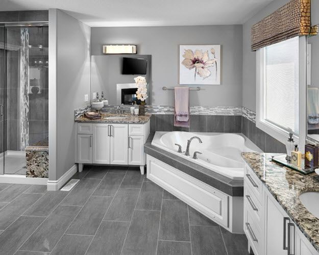 37 light grey bathroom floor tiles ideas and pictures for Grey wood floor bathroom