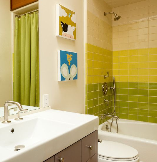 Bright Modern Bathroom Interior Lime Green Tile Backsplash Southampton House