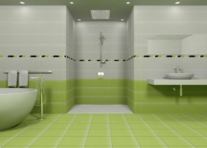 Unique Tiles And Ceiling, Then Use A Range Of Tones, Keeping The Palest For The Widest Surfaces And The Darker Tones To Pick Out The Details Green And White View In Gallery Bathroom Greens Usually Have To Coordinate With Another Color The Easiest