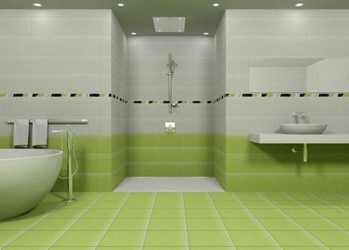 Green floor tiles bathroom