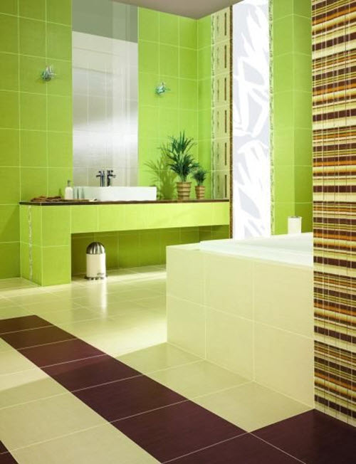 Amazing GreenMosaicandWhiteBathroomIdealHomeHousetohomejpg