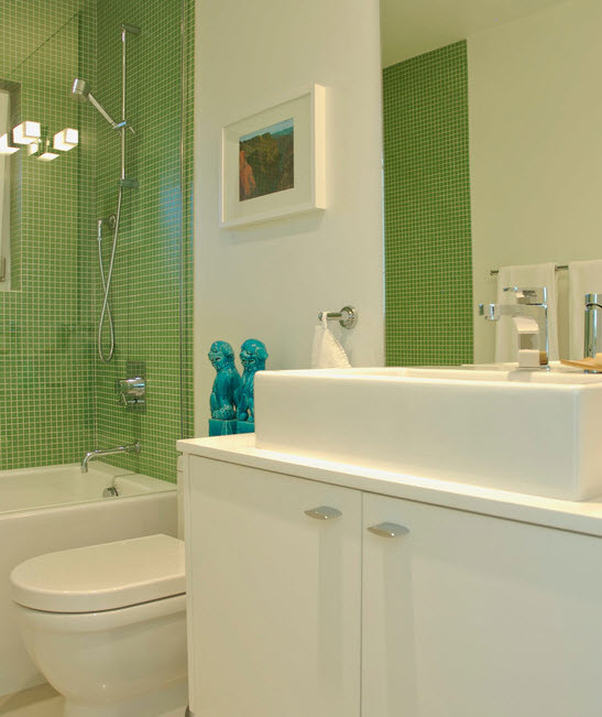 Lime green and purple bathroom