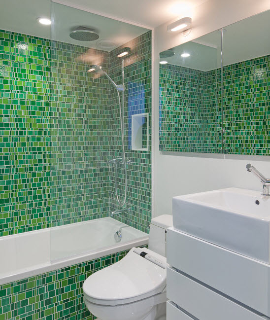 Green Glass Tile Bathroom: 35 Lime Green Bathroom Wall Tiles Ideas And Pictures