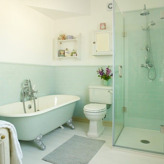 40 mint green bathroom tile ideas and pictures for Bathroom decor light green