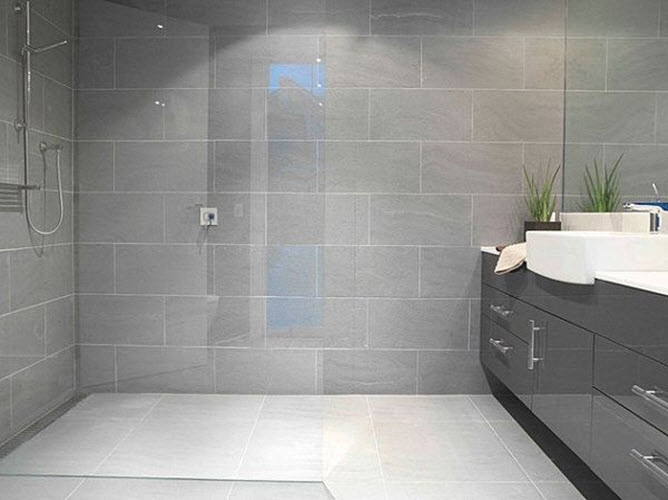 40 modern gray bathroom tiles ideas and pictures for Grey modern bathroom ideas