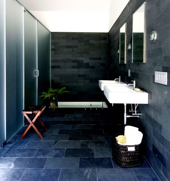 37 navy blue bathroom floor tiles ideas and pictures for Dark blue bathroom tiles