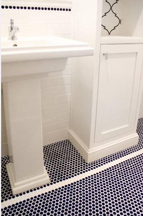 Bathroom Tile Ideas Blue And White 37 navy blue bathroom floor tiles ideas and pictures